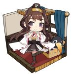 1girl ahoge alakoala boots box brown_hair detached_sleeves double_bun failure_penguin hairband headgear heart heart_hands isometric japanese_clothes kantai_collection kongou_(kantai_collection) long_hair looking_at_viewer ribbon-trimmed_sleeves ribbon_trim simple_background smile solo standing standing_on_one_leg thigh-highs thigh_boots white_background window