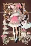 1girl belda34 candle cup flower hat high_heels highres long_hair original rose teacup teapot witch witch_hat