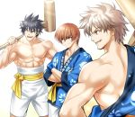 3boys black_hair brown_eyes brown_hair commentary_request cowboy_shot crossed_arms happi headband highres inohara_masato japanese_clothes little_busters! male_focus miyazawa_kengo multiple_boys muscle natsume_kyousuke red_eyes sash shorts silver_hair simple_background spiky_hair white_background white_shorts zen