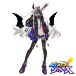 1girl asymmetrical_horns baseball_bat bat_wings bike_shorts black_choker black_gloves black_hair black_jacket black_legwear black_shorts choker contrapposto copyright_name dark_skin earrings fingerless_gloves full_body gloves grey_shirt hand_in_pocket head_tilt heterochromia highres holding hop_step_jumpers jacket jewelry long_hair looking_at_viewer low_wings multicolored multicolored_clothes multicolored_hair multicolored_jacket open_clothes open_jacket parted_lips purple_footwear purple_jacket red_eyes shirt shoes shorts simple_background solo streaked_hair thigh-highs torn_clothes torn_shirt two-tone_hair very_long_hair violet_eyes watermark westxost_(68monkey) white_background white_hair wings