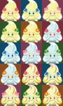 alcremie blue_eyes creature expressionless face flower food fruit gen_8_pokemon green_eyes heart highres looking_at_viewer multicolored multicolored_background no_humans orange_eyes pink_eyes pokemon pokemon_(creature) shawn_flowers strawberry