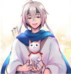 1boy animal blue_scarf cat food_fantasy grey_eyes grey_hair headband holding holding_animal holding_cat japanese_clothes kimono sanma_(food_fantasy) scarf short_hair silver_hair smile wide_sleeves