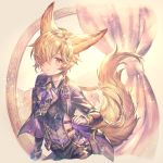 1boy animal_ears backless_outfit blonde_hair brown_eyes erune formal fox_boy fox_ears fox_tail gloves granblue_fantasy hair_ornament hair_over_one_eye highres jacket kou_(granblue_fantasy) large_tail long_hair looking_at_viewer male_focus necktie open_mouth shigaraki_(strobe_blue) solo suit tail