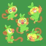 :d ^_^ closed_eyes creature fang fangs full_body gen_8_pokemon green_background green_eyes grin grookey holding looking_at_viewer looking_back lying monkey no_humans on_stomach open_mouth pokemon pokemon_(creature) simple_background smile standing standing_on_one_leg tumblr_username versiris