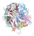 1girl animal_ears bell black_legwear boots box capelet christmas christmas_ornaments christmas_wreath coat commentary_request expressionless flower full_body fur-trimmed_capelet fur-trimmed_coat fur_trim gift gift_box hat highres kazana_(sakuto) long_hair mittens original pantyhose ribbon saku_(kazana) santa_boots santa_costume scarf snowflake_background solo star sweater tail white_background white_hair wolf_ears wolf_tail wreath yellow_eyes