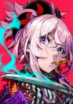 1girl dango fate/grand_order fate_(series) food hair_between_eyes head_tilt japanese_clothes katana kimono looking_at_viewer miyamoto_musashi_(fate/grand_order) mouth_hold pink_hair pokimari ponytail portrait red_background short_hair simple_background solo sword violet_eyes wagashi weapon