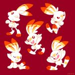:d ^_^ brown_eyes bunny_focus closed_eyes closed_mouth creature facing_viewer full_body gen_8_pokemon happy jumping looking_at_viewer no_humans one_eye_closed open_mouth pokemon pokemon_(creature) rabbit red_background scorbunny simple_background sitting smile standing tumblr_username versiris walking