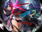 2girls arknights arm_ribbon arm_scarf bare_shoulders black_gloves black_ribbon black_shorts building ch'en_(arknights) city cityscape closed_mouth clothes_around_waist commentary_request cowboy_shot dragon_horns dragon_tail dual_wielding feet_out_of_frame fighting fingerless_gloves from_below gloves glowing glowing_sword glowing_weapon green_hair highres holding holding_shield holding_sword holding_weapon horn horns hoshiguma_(arknights) jacket_around_waist long_sleeves multicolored_neckwear multiple_girls multiple_swords navel neckwear nima_(niru54) oni_horn oni_horns outdoors ribbon scabbard sheath shield shin_guards shirt short_shorts shorts skin-covered_horns sky skyscraper sleeveless sleeveless_shirt sword tail thighs v-shaped_eyebrows weapon white_shirt