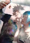 1boy 1girl absurdres black_jacket blue_eyes blue_hair blurry blurry_background blush cellphone crossed_fingers glint gojou_satoru hand_up highres holding holding_phone jacket jujutsu_kaisen keychain kyuuba_melo leaning_to_the_side long_hair long_sleeves looking_at_phone looking_at_viewer looking_to_the_side miwa_kasumi open_mouth outstretched_arm phone print_shirt selfie shirt short_hair short_sleeves smartphone smile sweatdrop teeth upper_body v v_over_mouth white_hair white_shirt wide-eyed