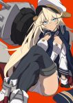 1girl absurdres ankle_boots azur_lane black_gloves black_legwear blonde_hair blue_eyes blue_jacket blue_neckwear blush boots cannon closed_mouth crossed_legs eyebrows_visible_through_hair fingerless_gloves gloves hair_between_eyes hat headgear highres invisible_chair jacket jacket_on_shoulders long_hair long_sleeves looking_at_viewer machinery military military_hat military_uniform naval_uniform necktie panties peaked_cap red_background simple_background sitting solo sweatdrop tennessee_(azur_lane) thigh-highs underwear uniform v-shaped_eyebrows very_long_hair westxost_(68monkey) white_headwear white_panties