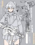 1girl absurdres bangs commentary girls_frontline gloves grey_background greyscale gun h&k_ump h&k_ump45 hair_between_eyes hand_on_weapon heckler_&_koch highres holster hood hood_down hooded_jacket jacket long_hair long_sleeves minata_(axl19941120) monochrome one_eye_closed pleated_skirt scar scar_across_eye skirt smile solo spot_color submachine_gun thigh_holster thigh_strap ump45_(girls_frontline) weapon yellow_eyes