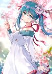 1girl aqua_eyes aqua_hair bangs bare_shoulders blue_sky blurry blurry_background blurry_foreground blush breasts buttons cherry_blossoms commentary_request day dress earrings eyebrows_visible_through_hair falling_petals flower flower_earrings frilled_dress frills green_nails hair_between_eyes hair_flower hair_ornament hair_ribbon hatsune_miku highres holding holding_flower jewelry long_hair long_sleeves looking_at_viewer medium_breasts nishizawa off-shoulder_dress off_shoulder outdoors profile red_ribbon ribbon sidelocks sky smile solo spring_(season) standing tree twintails upper_body vocaloid white_dress