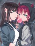 2girls aqua_eyes bangs black_hoodie blue_jacket brown_hair candy dark_background eyelashes food half-closed_eyes highres horns_through_headwear implied_incest implied_yuri jacket kurosawa_dia kurosawa_ruby lollipop long_hair love_live! love_live!_sunshine!! mole mole_under_mouth multiple_girls red_horns redhead shirt short_hair siblings sideways_glance sisters sleeves_past_elbows star studded_choker symbol_commentary tagme tem10 white_shirt