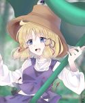 1girl blonde_hair blue_eyes commentary commentary_request hair_ribbon holding holding_leaf holding_umbrella leaf leaf_umbrella moriya_suwako purple_skirt purple_vest red_ribbon ribbon rin-rin- skirt sleeves_past_wrists touhou umbrella vest
