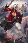 1girl absurdres ammo_box bangs battlefield biting black_skirt braid breasts bullet fate/grand_order fate_(series) florence_nightingale_(fate/grand_order) glove_biting gloves gun handgun hat highres holding holding_gun holding_weapon large_breasts long_hair low-tied_long_hair nurse_cap pistol platinum_blonde_hair pleated_skirt red_eyes red_neckwear skirt sukocchi torn_clothes torn_legwear weapon white_footwear white_gloves white_legwear