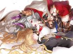 2girls bandaid bandaid_on_face blonde_hair breasts cape coat draph granblue_fantasy grey_hair horns large_breasts lying makochi_(skk_21) monika_weisswind multiple_girls on_back pointy_ears red_eyes skirt thalatha_(granblue_fantasy) twintails unconscious