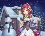 1girl :d absurdres animal_hood basket blush bow braid cape cat_hood green_eyes hair_ornament hairclip happycloud highres hood house little_red_riding_hood long_sleeves night night_sky open_mouth outdoors red_cape redhead sky smile snowball snowing snowman standing tree winter yellow_bow