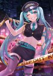 1girl ;d aqua_belt aqua_eyes aqua_hair aqua_neckwear black_gloves black_skirt black_vest caution_tape city city_lights cityscape commentary_request crime_scene cropped_vest cuffs fishnet_legwear fishnets gloves gold_trim handcuffs hat hatsune_miku hatsune_miku_graphy_collection long_hair navel night one_eye_closed open_mouth peta_(snc7) police police_hat police_uniform policewoman shirt skirt smile tagme thigh-highs thighs uniform vest vocaloid watermark white_shirt