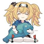 1girl artist_name blonde_hair blue_shirt breasts closed_eyes collared_shirt commentary_request facing_viewer fish full_body gambier_bay_(kantai_collection) gloves hairband ichiroku_(sakumogu-029) kantai_collection large_breasts long_hair oversized_object shirt simple_background sitting smile solo thigh-highs twintails wariza white_background white_gloves white_legwear