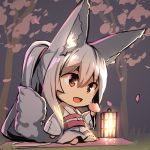 1girl :d absurdres animal_ear_fluff animal_ears bangs barefoot blanket blush chibi commentary_request eyebrows_visible_through_hair fox_ears fox_girl fox_tail full_body grass hair_between_eyes highres holding japanese_clothes kimono lantern long_hair looking_away night obi open_mouth original outdoors patches petals ponytail red_eyes sash silver_hair sitting smile solo tail tail_raised tree very_long_hair white_kimono wide_sleeves yuuji_(yukimimi)