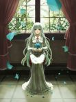1girl albino bangs blue_flower blue_petals blue_rose blunt_bangs curtains dress fata_morgana_no_yakata flower flower_brooch full_body holding holding_flower long_dress long_hair long_sleeves looking_at_viewer moyatarou official_art petals red_eyes rose sitting solo straight_hair the_white-haired_girl white_dress white_flower white_hair white_rose window