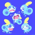 blue_background blue_eyes closed_mouth creature crying frown full_body gen_8_pokemon looking_at_viewer no_humans one_eye_closed open_mouth pokemon pokemon_(creature) simple_background sitting sobble tumblr_username versiris walking