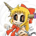 1girl ahoge avatar_icon black_sclera bow chain chamaji clenched_hand commentary_request cuffs eyebrows_visible_through_hair fang grin hair_bow horn_ornament horn_ribbon horns ibuki_suika long_hair looking_at_viewer lowres neck_ribbon oni oni_horns orange_eyes orange_hair outstretched_arms partial_commentary pointy_ears ribbon shackles signature simple_background sleeveless slit_pupils smile solo spread_arms torn_clothes torn_sleeves touhou upper_body vortex white_background wrist_cuffs