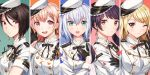 5girls bang_dream! black_gloves black_hair blonde_hair brown_eyes bug butterfly earrings eyebrows_visible_through_hair eyes_visible_through_hair futaba_tsukushi gloves green_eyes half_gloves hat hiromachi_nanami insect jewelry kirigaya_touko kurata_mashiro long_hair morfonica multiple_girls one_eye_closed open_mouth pink_hair ribbon silver_hair tiny_(tini3030) twintails uniform white_headwear yashio_rui