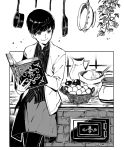 1girl basket book brick_oven closed_mouth fingernails greyscale holding holding_book jar kaworu_(kaw_lov) leaning monochrome open_book original oven plant pot sack short_hair signature skirt smile solo