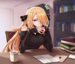 1girl akihorisu bangs black_nails black_sweater blonde_hair blue_eyes blurry blurry_background book bookshelf closed_mouth coffee coffee_mug cup hair_ornament hair_over_one_eye indoors interlocked_fingers long_hair long_sleeves mug nail_polish off-shoulder_shirt off_shoulder parted_bangs pokemon pokemon_(game) pokemon_bw ribbed_sweater shiny shiny_hair shirona_(pokemon) shirt sitting solo steam sweater upper_body very_long_hair