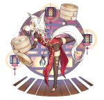 1girl animal_ears argyle_cutout balancing bamboo_steamer baozi bike_shorts black_legwear bow braid carrying china_dress chinese_clothes commentary_request detached_sleeves dress eating food full_body hair_bow highres kazana_(sakuto) lantern long_hair original saku_(kazana) side_cutout simple_background solo standing standing_on_one_leg steam stirrup_legwear tail thigh-highs thigh_cutout tiptoes toeless_legwear very_long_hair white_background white_hair wolf_ears wolf_tail yellow_eyes