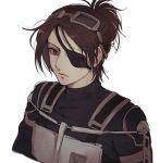 1girl belt black_eyepatch bodysuit breastplate brown_eyes brown_hair emblem eyepatch goggles goggles_on_head hange_zoe paradis_military_uniform pi0w0pi ponytail shingeki_no_kyojin short_hair strap survey_corps_(emblem) uniform