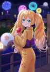 1girl absurdres aerial_fireworks bangs blonde_hair candy_apple fan fireworks food full_moon girls_frontline hair_between_eyes hair_ribbon hairband happycloud highres japanese_clothes kimono licking_lips long_hair looking_at_viewer looking_back moon night night_sky obi orange_ribbon outdoors paper_fan railing reflection ribbon s.a.t.8_(girls_frontline) sash sky skyline smile standing tongue tongue_out twintails very_long_hair yellow_kimono