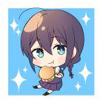 1girl ahoge blue_eyes blush braid brown_hair chibi food hair_between_eyes hamburger highres kantai_collection school_uniform serafuku shigure_(kantai_collection) single_braid solo yukichi_(eikichi)