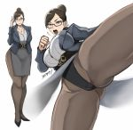 1girl alternate_costume bangs black-framed_eyewear blue_jacket breasts brown_eyes brown_hair chun-li clenched_hand closed_mouth collared_shirt commentary dress_shirt earrings fighting_stance formal full_body glasses grey_shirt hair_bun high_heels jacket jewelry kicking large_breasts leotard muscle muscular_female necklace open_mouth pantyhose shibusun shirt side_slit smile standing street_fighter suit swept_bangs teacher thick_thighs thighs