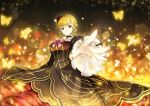 1girl beatrice blonde_hair blue_eyes bow bug butterfly choker dress flower foreshortening hair_bun hair_flower hair_ornament insect outstretched_hand red_flower red_rose rose sparkle umineko_no_naku_koro_ni vilor yellow_butterfly