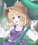 1girl blonde_hair blue_eyes commentary commentary_request hair_ribbon holding holding_leaf holding_umbrella leaf leaf_umbrella moriya_suwako purple_skirt purple_vest rain red_ribbon ribbon rin-rin- skirt sleeves_past_wrists touhou umbrella vest water_drop