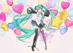 1girl aqua_eyes aqua_hair aqua_nails aqua_neckwear armpits balloon bare_shoulders belt black_legwear black_skirt black_sleeves boots commentary_request contrapposto detached_sleeves grey_shirt hair_ornament hatsune_miku headphones headset heart heart-shaped_balloon highres holding holding_microphone index_finger_raised ixima long_hair looking_at_viewer microphone microphone_stand miniskirt nail_polish necktie one_eye_closed open_mouth outstretched_arm pleated_skirt shirt skirt sleeveless sleeveless_shirt smile solo star star-shaped_balloon thigh-highs thigh_boots twintails very_long_hair vocaloid wide_shot zettai_ryouiki
