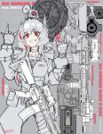1girl \m/ absurdres arms_up assault_rifle bangs belt belt_buckle belt_pouch buckle choker commentary english_text fang fingerless_gloves girls_frontline gloves grey_background greyscale grin gun hands_up headgear highres jacket long_hair long_sleeves looking_at_viewer m4_carbine m4_sopmod_ii m4_sopmod_ii_(girls_frontline) mechanical_arm minata_(axl19941120) monochrome multicolored_hair pouch red_eyes redhead rifle smile solo streaked_hair upper_body watch weapon