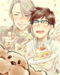 2boys ^_^ amamiya_konatsu black_hair blue-framed_eyewear cake closed_eyes collared_shirt confetti dog eyes_visible_through_hair food fork fruit glasses grin jewelry katsuki_yuuri makkachin male_focus multiple_boys open_mouth plate ring shirt silver_hair smile strawberry sweater turtleneck turtleneck_sweater v viktor_nikiforov yuri!!!_on_ice