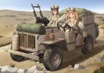 2girls absurdres blue_sky breast_pocket brown_eyes brown_hair brown_headwear brown_shirt brown_shorts car day desert driving ground_vehicle gun hat highres jeep kangri_jian light_brown_hair long_hair military military_uniform motor_vehicle multiple_girls original outdoors peaked_cap pocket rock sand shirt shorts sky special_air_service sten_gun submachine_gun uniform weapon world_war_ii