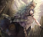 1boy animal animal_ear_fluff animal_ears arknights bird black_gloves cane cat_ears dutch_angle gloves grey_eyes hair_between_eyes highres light_smile long_hair looking_at_viewer male_focus nga_(artist) silverash_(arknights) simple_background solo tail