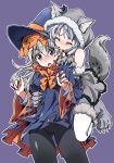2girls absurdres animal_hood bare_shoulders biting black_legwear closed_eyes commentary_request ear_biting eila_ilmatar_juutilainen fake_tail grey_hair halloween_costume hat highres hood kogarashi51 long_hair multiple_girls pantyhose purple_background sanya_v_litvyak silver_hair strike_witches tail violet_eyes white_legwear wide_sleeves witch_hat world_witches_series