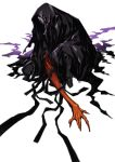 1boy black_skin claws cloak fate/stay_night fate_(series) highres male_focus miwa_shirou oversized_limbs red_skin skull_mask solo squatting true_assassin zabaniya_(fate)