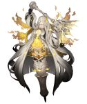 1girl blonde_hair blue_eyes breasts covered_mouth dark_persona empty_eyes flower full_body hair_flower hair_ornament hair_over_one_eye half-nightmare ji_no large_breasts long_hair looking_at_viewer mace official_art one_eye_covered pale_skin petals rapunzel_(sinoalice) sinoalice solo transparent_background very_long_hair weapon