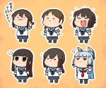 ... 6+girls :> :3 :d bangs black_legwear blue_hair blue_neckwear blue_ribbon blue_sailor_collar blue_skirt blunt_bangs bow braid brown_hair chibi expressionless fang flying_sweatdrops fubuki_(kantai_collection) hair_bow hair_ribbon hatsuyuki_(kantai_collection) headgear hime_cut isonami_(kantai_collection) jitome kantai_collection long_hair miyuki_(kantai_collection) multiple_girls murakumo_(kantai_collection) neck_ribbon necktie open_mouth outline pantyhose pleated_skirt ponytail rariatto_(ganguri) red_bow red_eyes red_neckwear red_ribbon ribbon sailor_collar school_uniform serafuku shirayuki_(kantai_collection) shirt short_hair simple_background skirt smile smug socks spoken_ellipsis twin_braids very_long_hair white_outline white_shirt yellow_background