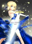 1girl absurdres ahoge artoria_pendragon_(all) bangs bare_hips blonde_hair blue_dress blue_ribbon blurry blurry_background braid braided_bun breasts character_name dress elbow_gloves excalibur fate/stay_night fate_(series) from_side gloves green_eyes hair_between_eyes hair_ribbon highres holding holding_sword holding_weapon parted_lips ribbon saber shi_ma86 shiny shiny_hair short_hair sideboob sidelocks sleeveless sleeveless_dress small_breasts solo standing strapless strapless_dress sword weapon white_gloves