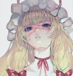 1girl bangs blonde_hair blurry blurry_background bow choker chromatic_aberration collarbone eyebrows_visible_through_hair eyelashes face hair_between_eyes hair_bow hat hat_ribbon light_frown long_hair looking_at_viewer mob_cap mochacot neck parted_lips pink_lips red_bow red_ribbon ribbon ribbon_choker shiny shiny_hair sidelocks simple_background sketch solo touhou violet_eyes white_background white_headwear yakumo_yukari