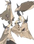 1boy absurdres black_bodysuit bodysuit brown_cape brown_cloak cape cloak closed_eyes expressions forte_exe gloves helmet highres jumping looking_away male_focus multiple_views netnavi open_eyes red_eyes robot rockman rockman_exe sandlake serious solo standing torn_clothes white_gloves