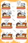 >_< /\/\/\ 3girls :< :3 =_= bangs blue_hair blunt_bangs blush_stickers brown_hair character_request chibi directional_arrow folded_ponytail hair_ribbon headgear inazuma_(kantai_collection) kantai_collection kotatsu miyuki_(kantai_collection) motion_lines multiple_girls murakumo_(kantai_collection) rariatto_(ganguri) red_ribbon ribbon table translation_request wide-eyed wide_face